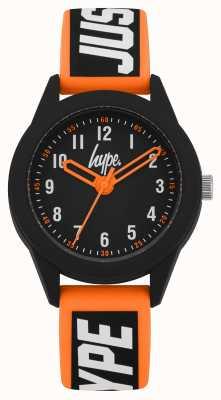 Hype | pomarańczowo-czarny silikonowy pasek | czarna tarcza | HYK004OB