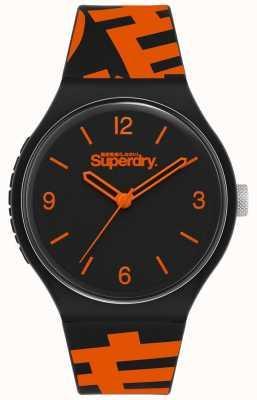 Superdry Czarno-pomarańczowy silikonowy pasek | czarna matowa tarcza | SYG294BO