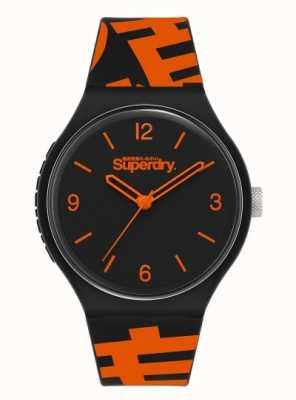 Superdry Czarno-pomarańczowy silikonowy pasek   czarna matowa tarcza   SYG294BO