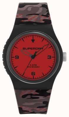 Superdry Unisex | czerwona tarcza | gumowy pasek maskujący SYG296BR