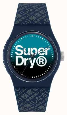 Superdry Niebieska wyblakła tarcza | granatowy silikonowy pasek | SYG302U