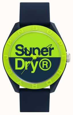 Superdry Granatowy silikonowy pasek | niebieska / zielona tarcza SYG303UN