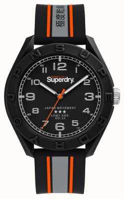 Superdry Matowa czarna tarcza | czarny / szary / pomarańczowy pasek | SYG305EB