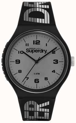 Superdry | wyścigi miejskie XL | czarny silikonowy pasek | szara tarcza | SYG269BE