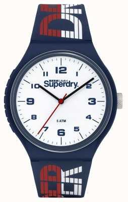 Superdry Niebiesko-biały / czerwony silikonowy pasek   biała tarcza   SYG269UW