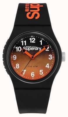 Superdry | czarny silikonowy pasek | czarno-pomarańczowa dwukolorowa tarcza | SYG198BO