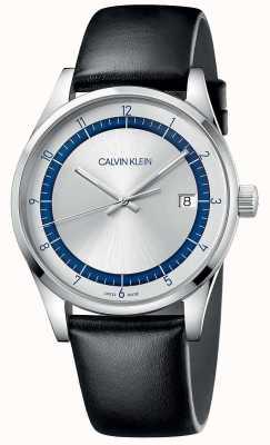 Calvin Klein | zakończenie | czarny skórzany pasek | srebrno-niebieska tarcza | KAM211C6