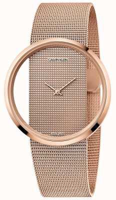Calvin Klein | glam | bransoleta z siateczki platerowana różowym złotem | tarcza z różowego złota K942362A