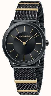Calvin Klein | minimalna | czarna bransoletka z siatki | czarna tarcza | 35 mm K3M524Z1
