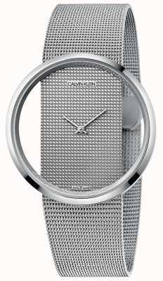 Calvin Klein | glam | srebrna stalowa bransoletka z siatki | srebrna tarcza | K9423T27
