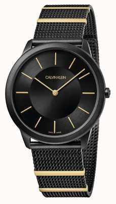 Calvin Klein | minimalna | czarna stalowa bransoletka z siatki | czarna tarcza | K3M514Z1