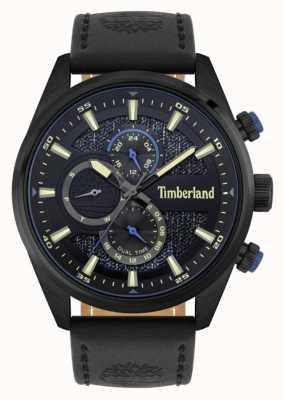 Timberland | osoby poszukujące na zewnątrz | czarny skórzany pasek | czarna / niebieska tarcza | 15953JSB/02