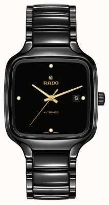 RADO Prawdziwe kwadratowe automatyczne diamenty | czarna ceramiczna bransoletka R27078722