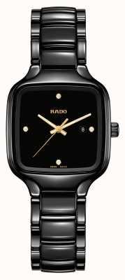RADO Prawdziwe kwadratowe diamenty | czarna ceramiczna bransoletka R27080722