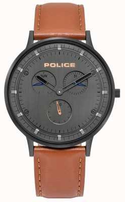 Police | berkeley dla mężczyzn | brązowy skórzany pasek | szara tarcza | 15968JSB/39