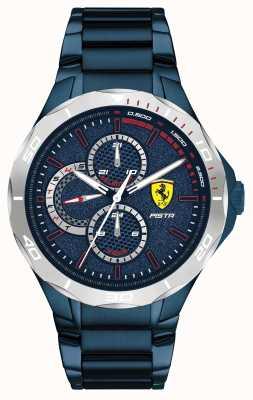 Scuderia Ferrari | męska pista | niebieska, galwanizowana stalowa bransoletka | niebieska tarcza 0830759