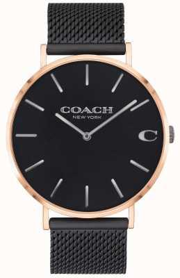 Coach | Charles Charles | czarna bransoletka z siatki | czarna tarcza | 14602470