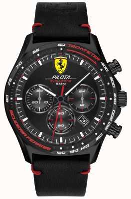 Scuderia Ferrari | pilot męski evo | czarny skórzany pasek | czarna tarcza 0830712