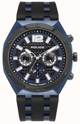 Police Kediri | czarny gumowy pasek | niebieska tarcza 15995JSBLU/03P