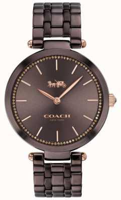Coach | park kobiet | czarno-brązowa stalowa bransoletka | brązowa tarcza 14503507