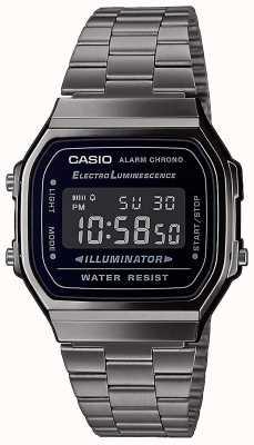 Casio | vintage | srebrna bransoleta ze stali nierdzewnej | czarna tarcza | A168WEGG-1BEF