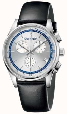 Calvin Klein | kompletacja mężczyzn | czarny skórzany pasek | srebrna tarcza KAM271C6