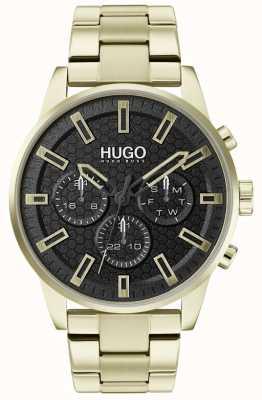 HUGO #seek | złota bransoleta ze stali nierdzewnej | czarna tarcza | 1530152