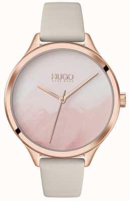 HUGO #smash | różowa tarcza różu | kremowy skórzany pasek 1540059