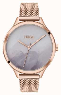 HUGO #smash | szara tarcza różu | siatka w kolorze różowego złota 1540060