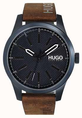 HUGO #invent | niebieska tarcza | brązowy skórzany pasek 1530145