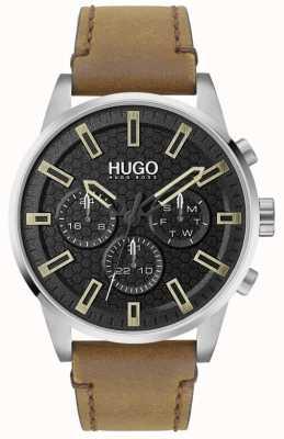 HUGO #seek | czarna tarcza | brązowy skórzany pasek 1530150