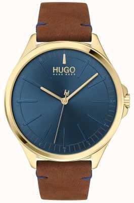 HUGO #smash | niebieska tarcza | brązowy skórzany pasek 1530134
