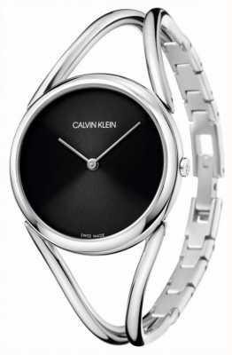 Calvin Klein Lady | bransoletka ze stali nierdzewnej | czarna tarcza KBA23121