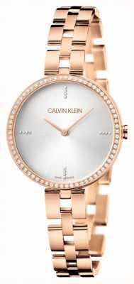 Calvin Klein Elegancja | bransoleta ze stali nierdzewnej w kolorze różowego złota | srebrna tarcza KBF23X4W