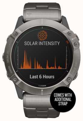 Garmin Fenix 6x pro solar | tytanowa bransoletka i pomarańczowy pasek 010-02157-24