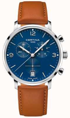 Certina Mężczyźni | ds caimano | chronograf | niebieska tarcza | brązowa skóra C0354171604700
