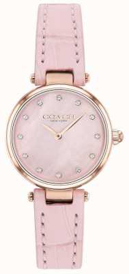 Coach | park kobiet | różowy pasek ze skóry cielęcej | tarcza z masy perłowej 14503537