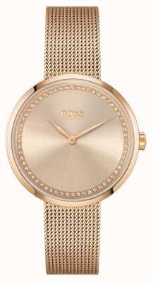 BOSS | pochwała kobiet bransoleta ze stali w kolorze różowego złota | różowa tarcza 1502548