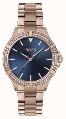 BOSS | mini sport dla kobiet | bransoletka z różowego złota | niebieska tarcza 1502468