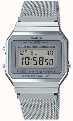 Casio | vintage | bransoletka ze stali | stoper | podświetlenie LED A700WEM-7AEF
