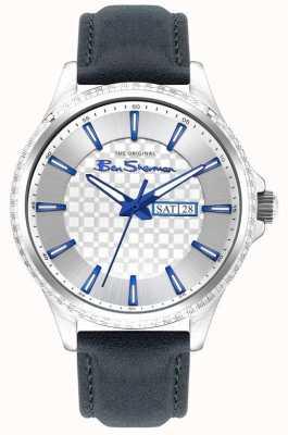 Ben Sherman | niebieski skórzany pasek dla mężczyzn | srebrna tarcza BS029U