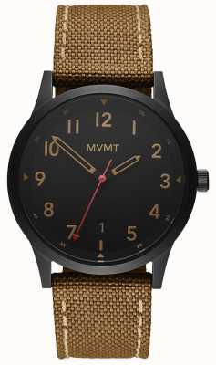 MVMT | pole | brązowy pasek z płótna | czarna tarcza 28000017-D