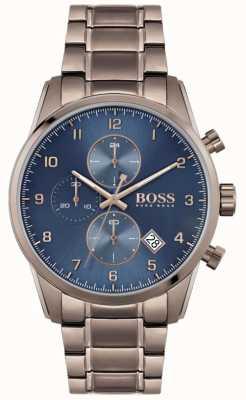 BOSS | męski skymaster | brązowa jonowana bransoletka | niebieska tarcza 1513788