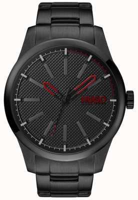 HUGO #invent | czarna stalowa bransoletka | czarna tarcza 1530148