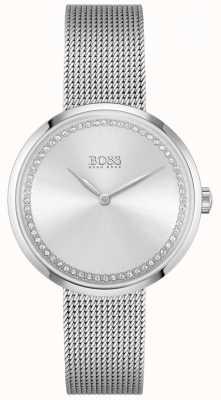 BOSS Chwała | bransoletka ze stali dla kobiet | srebrna tarcza kryształowa 1502546