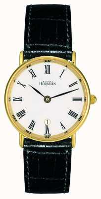 Michel Herbelin Czarny skórzany pasek damski | biała tarcza | złota obudowa 16845/P01