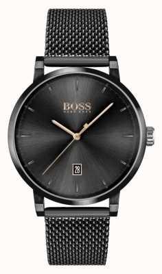 BOSS | zaufanie mężczyzn | bransoletka z czarnej siatki | czarna tarcza 1513810