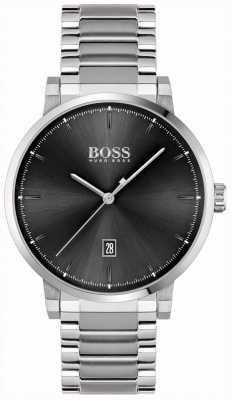 BOSS | zaufanie mężczyzn | bransoleta ze stali nierdzewnej | czarna tarcza 1513792