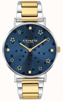 Coach | perry damskie | dwukolorowa stalowa bransoletka | niebieska gwiazda wybierania 14503523