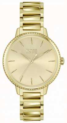 BOSS | podpis kobiet | pozłacana stalowa bransoletka | złota tarcza 1502541